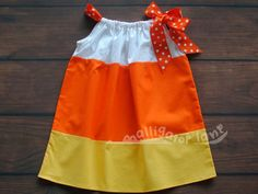 Candy Corn Dress Pillow Case Dress Halloween Dress Yellow Orange White Girls Toddler Dress Candycorn Pillowcase Dress Candy Corn Costume on Etsy, $20.00