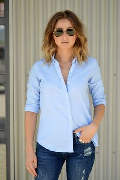 baby blues, blue menswear shirt gap, distressed skinny jeans, ripped, zara lace up black heels, ombre hair, aviator sunglasses, what to wear this weekend, easy chic outfit5