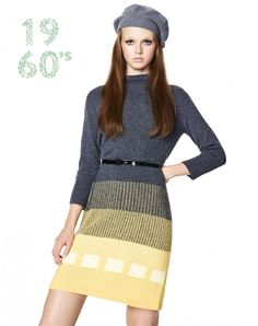 This knitted dress with ¾ length sleeves and funnel neck is a modern reinterpretation of our original 1960s design. The dress, straight-cut down to above the knee, is in pure, super-soft extra-fine merino wool, the ultimate yarn for warmth. The colours ra