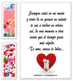 mensajes de texto de te extraño mucho,palabras de te extraño mucho para compartir:  http://www.consejosgratis.net/bonitas-frases-de-amor-para-mi-pareja-que-esta-lejos/