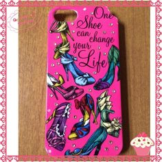 CCOHP 3/21/16 Preloved Disney Phone case Spring Trends HP on 3/21/16 by @bamagirl017 Preloved with a chip at the corner, one crack at top and some missing stones as pictured. Still very useable! Great for any shoe lover, Disney fan or girly girl!  Fits iPhone 5 Disney Accessories Phone Cases