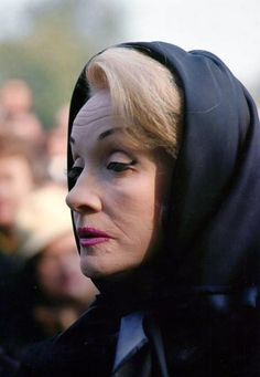 German-American actor Marlene Dietrich attending the funeral of French singer Edith Piaf, Paris, France, 1963.