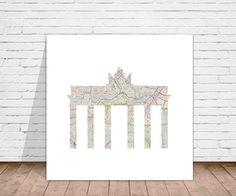 """Digitaldruck - Kunstdruck """"Berlin Map"""" 50x50 cm - ein Designerstück von binissima bei DaWanda"""