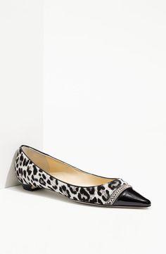 Jimmy Choo Berry Animal Print Pointy Toe Hair Chain Flats Shoes 40 5 9 5 37 5 | eBay
