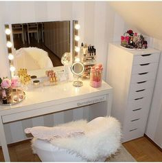 vanity / make up table from @emeliesplace1 on Instagtam #ikea #malm #vanity…