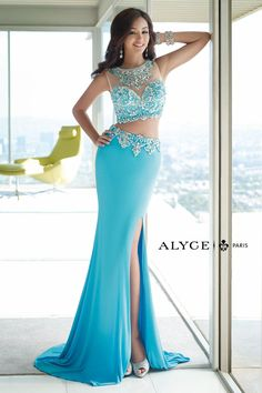 Alyce Paris 6391 Two Piece Jersey Blue Long Prom Dress from Dressey Girl. Saved to Long Prom Dresses. Gorgeous Prom Dresses, Prom Dresses 2015, Prom Dress Stores, Elegant Prom Dresses, Prom Party Dresses, Pretty Dresses, Formal Dresses, Formal Prom, Prom 2015