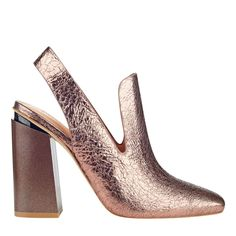 The Janet slingback in copper features a high, sculpted heel with a chic menswear edge. #SigersonMorrison