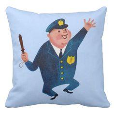 dancing happy cop throw pillow - office decor custom cyo diy creative