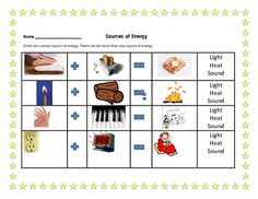 Worksheets Heat Light And Sound Worksheets For 4th Grade minis and lights on pinterest sources of energy mini unit light heat sound