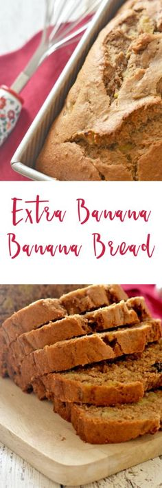 This Extra Banana Banana Bread lives up to its name!  Stuffed with a full five bananas, this bread is moist and rich and is perfect any time of the day.  It's perfect as-is, but try it lightly toasted with a smear of cream cheese for an extra special treat! | homemade banana bread recipe | easy banana bread recipe | homemade bread recipes | how to make banana bread || Kitchen Meets Girl