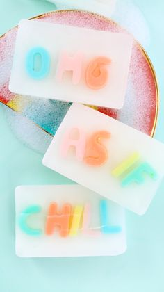 A Kailo Chic Life: DIY It - Colorful Typography Soap - learn how to make your own soap with messages - paper source - bando