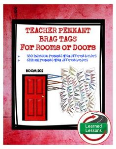 TEACHER PENNANT BRAG TAGS FOR BACK TO SCHOOLVISIT MY STORE AND FOLLOW TO GET UPDATES WHEN NEW RESOURCES ARE ADDED!  Also, check out my General Resources Tab under Categories to see more great ideas for teacher in-serives and PLCs. INCLUDES 100 Individual Pennants with different borders68 Blank Pennants with different bordersAdd pennants to a special place in teachers rooms or outside doors!These would be great outside room doors or somewhere in the classroom to allow teachers to collect and…