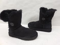 Ugg Australia Womens 5803 Black Suede Bailey Button Winter Boots Shoes Size 7…