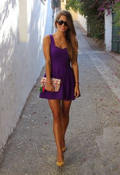 lovely purple dress with nude heels. Perfect for Clemson games