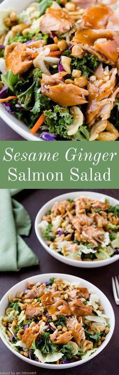 This quick and easy Sesame Ginger Salmon Salad is nutritious, delicious, and a convenient choice for any occasion. via @introvertbaker