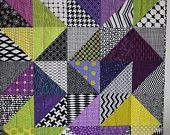"Modern Baby Quilt; Purple; Lime; ""Declan""; Modern Baby Quilt; Contemporary; Triangles; Baby Quilt; Lap Quilt; Play Mat; Wall Hanging"