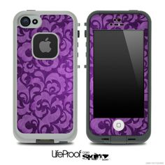 Purple Paisley Lace Pattern Skin for the iPhone 4/4s or 5 LifeProof Case