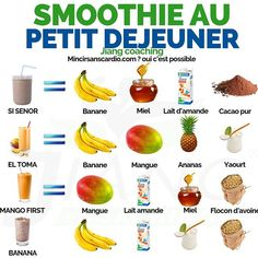 astuce recette minceur girl world world recipes world snacks Healthy Menu, Healthy Drinks, Healthy Eating, Healthy Recipes, Fruit Smoothie Recipes, Healthy Breakfast Smoothies, Diet And Nutrition, Food And Drink, Delaware
