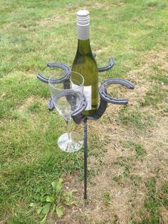 Wine bottle & glass holder #HorseShoeCrafts
