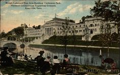 Knoxville TN Bridge, Lake and Fine Arts Building, Chilhowee Park National Conservation Exposition Grounds