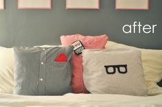 Use for making memory pillows Ducklings In A Row - Hair + DIY Tutorials: DIY Pillows Made from Daddy's Shirts Diy Pillows, Throw Pillows, Shirt Pillows, Cushions, Pillow Ideas, Funny Pillows, Couch Pillows, Do It Yourself Ikea, Decoracion Low Cost