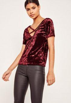 Crushed Velvet Cross Front T Shirt Burgundy
