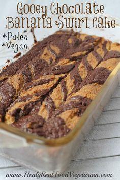 Banana chocolate swirl cake. Grain-free, dairy-free, paleo and vegan