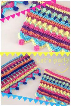 Gehaakte vrolijke vlaggetjes naar een patroon uit het boek Haken en Kleur. #haken#vlaggetjes#crochet
