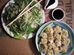 dumplings and bean sprout salad