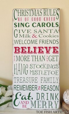 Christmas Rules Typography Word Art Sign- Weather Worn White Vintage Style