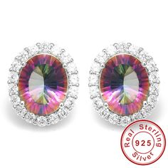 Luxury 6ct Oval Genuine Rainbow Fire Mystic Topaz Earrings Stud