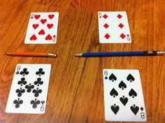 "Use playing cards to play ""Fraction War"" - this is a great way to learn fractions!! http://www.mathfilefoldergames.com/fraction-war/"