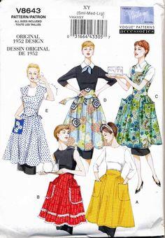 VOGUE SEWING PATTERN 8643 MISSES 8-18 RETRO VINTAGE '50s ORIGINAL DESIGN APRONS | Crafts, Sewing, Sewing Patterns | eBay!