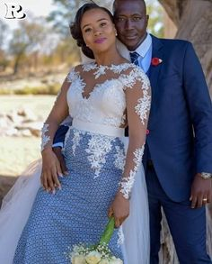 Top lace shweshwe dresses for a walk with their companions Setswana Traditional Dresses, South African Traditional Dresses, Traditional Wedding Attire, African Print Wedding Dress, African Wedding Attire, African Attire, Winter Trends, Shweshwe Dresses, African Wear Dresses