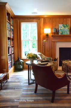 Tavern Library-2015 Southern Living House-Housepitality Designs.   I like the leather chair as it doesn't seem to take up much space.--Bev