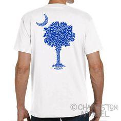 Palm and Moon Design  South Carolina Shirt  by CharlestonApparel Kevin Curran Charleston Apparel Blue White Tshirit T-shirt Gift