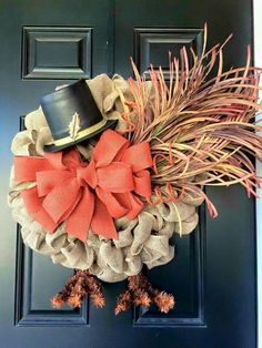 12 mesh burlap ribbon, faux herbs and a hat for a bold turkey wreath - Shelterness