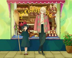 """Kiki from """"Kiki's Delivery Service"""" and Howl from """"Howl's Moving Castle"""""""