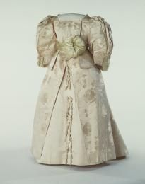 Girl's Fancy Dress Costume (image 1) | House of Worth | France; Paris | 1885-1895 | brocaded satin, Venetian lace | Powerhouse Museum | Registration #: A8735