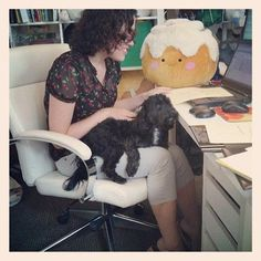 Morning from Squishy HQ. Today we are working…with a puppy in our laps. Life is hard petting a puppy while you draw, but that puppy ain't gonna pet himself. #squishable #plush