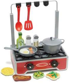Melissa Doug Deluxe Wooden Cooktop Set With Wooden Play Food Durable Pot and Pan *** Check out the image by visiting the link. Wooden Play Food, Cook Up A Storm, Kitchen Stove, Melissa & Doug, Hanging Pots, How To Make Breakfast, Wood Construction, Pretend Play, Cleaning Wipes