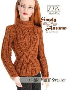 Knitting pattern for 16 inch fashion dolls Cable por DBDollPatterns