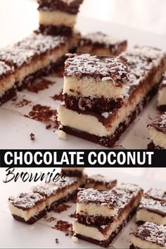 Coconut lovers, this Easy Chocolate Coconut Brownies recipe is just for you! A fudgy and rich chocolate brownie, a sticky coconut filling and a topping of gooey ganache. You could call almost call them bounty brownies. Brownie Recipe Video, Chocolate Cake Recipe Easy, Chocolate Desserts, Chocolate Ganache, Chocolate Drip, Coconut Chocolate, Homemade Chocolate, Guinness Chocolate, Desert Recipes