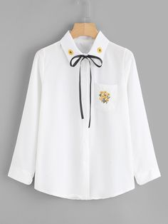 Floral Embroidered Tie Neck ShirtFor Women-romwe Source by sus_z Cute Casual Outfits, Pretty Outfits, Kawaii Fashion, Cute Fashion, Style Africain, Kawaii Clothes, Korean Outfits, Aesthetic Clothes, Cute Dresses