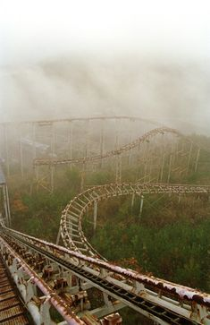 eerie abandoned roller coaster at Japan's Mt Fuji Gulliver's Kingdom Theme Park