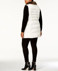 Charter Club Plus Size Faux-Fur-Collar Puffer Vest, Created for Macy's - Ivory/Cream 0X