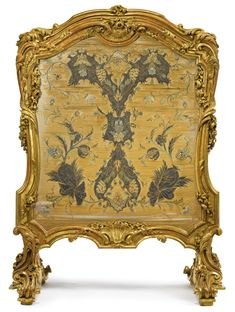 A LOUIS XV STYLE CARVED GILTWOOD FIRE SCREEN century upholstered à châssis with heavily embroidered silk panel worked in polychrome silk and silver metal thread, probably French or Italian, circa height 40 in. width 29 in. Rococo Furniture, French Furniture, Classic Furniture, Italian Baroque, French Rococo, Decorative Screens, Fireplace Screens, Wholesale Furniture, Furniture Styles