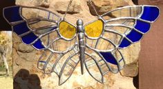 Stained Glass Butterfly Suncatcher Blue Yellow by PeaceLuvGlass, $39.00