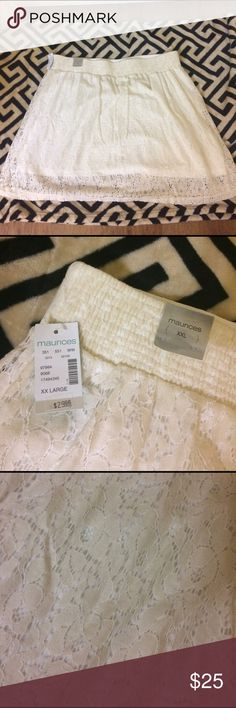 Adorable lace material skirt This is an adorable lace material skirt from Maurices. It is a XXL and an off white color. Would be adorable paired with a bright color top for spring! Fall right at or slightly above the knees. Brand new, still has tags. Maurices Skirts Mini
