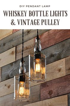 These Whiskey Bottle lights with vintagepulleycan be made with any two bottles of your choice, whether they be wine bottles or liquor bottles like Whiske